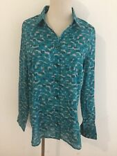 Coldwater Creek No Iron Shirt Blouse Turquoise Teal Taupe Size L/14 NWOT