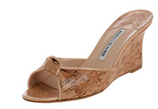New MANOLO BLAHNIK LAROS NUDE Patent Cork Wedge SANDALS Slides SHOES 36.5