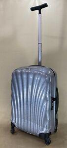 "Samsonite Cosmolite 20"" Silver Spinner Carry On Suitcase 60530 Black Label $450"