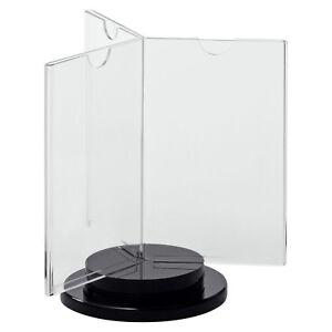 """Drehbarer Tischaufsteller """"INSPIN"""" 3-fach, glasklares Acrylglas mit Drehsockel"""