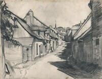 FRANK LEWIS EMANUEL (1865-1948) Pencil Drawing SAINT-VALERY-SUR-SOMME FRANCE