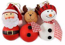 Mignon Suspendu Noël Tree Décorations 3 Pack Fun Coffret personnage fait main Noël