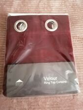 Ready Made Wine Velour Plain Dyed Eyelet Ring Top Curtains 46 x42