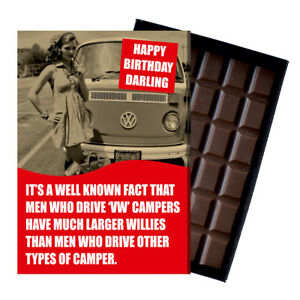 Novelty Chocolate Gifts Volkswagen VW Camper Van T1 T2 T3 Greeting Birthday Card