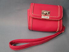 "VITURI faux leather small PINK CAMERA CASE 4""x3""x1.5"" fusia wristlet pouch"