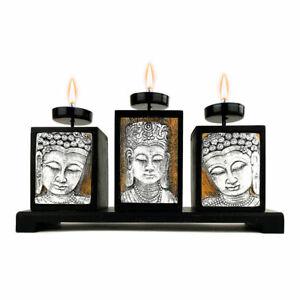 PORTACANDELE BUDDHA vintage in legno testa Budda giardino Zen porta candele da 3