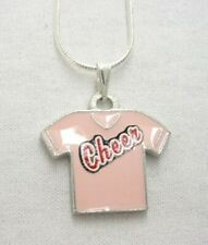 Pink Enameled Cheerleader Cheer Shirt Necklace on 18 inch chain