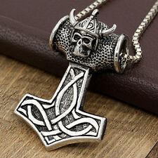 Wikinger Schädel Thors Hammer Mjolnir Anhänger Amulett Kette Biker Halskette