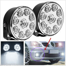 2 Pcs Round Super Bright White 9LED Car SUV Fog Lights DRL Daytime Running Lamps