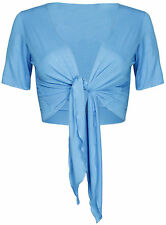 Short Cap Sleeve Front Tie Knot Cardigan Bolero Wrap Shrug Crop Top Club Wear