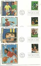 Set of 4 youth team sports colorano silk cachet first day covers 2000