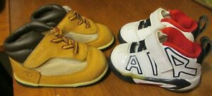 Lot of 2 Pairs Baby Boy Size 3C-Nike Air More Sneaker Shoes & Timberland Boots