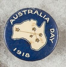 World War One Australia Day 1918 Blue Map Pinback Button Badge - Very Scarce