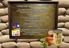 WW2 Second World War Recipe Corned beef & Oatmeal Pud Rationing A5 canvas Print