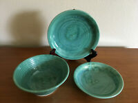 Porcelain Pottery Greens & Blues Signed and a Shell Mark on Back 3 Pieces