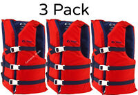 Adult Life Jacket Preserver 3-Pack Red USCG Type III Fishing Boating PFD Vest