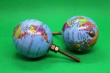 Pair of Metal Globe Planet Earth Drawer Pulls Handles - Set of 2