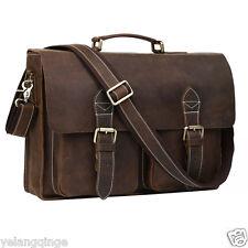 Fashion Vintage Style Real Leather 16'' Laptop Mens Briefcase Shoulder Bag Tote