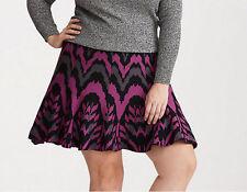 New Torrid Size 2 2X Purple Black Gray Sweater Knit Skater Flare Skirt