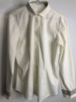Brunello Cucinelli Women's Cotton Dress Shirt SZ S Cream Made in Italy