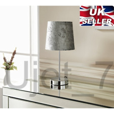 Silver Grey Crushed Velvet Table Lamp With Light Shade Chrome Base Deluxe Decora