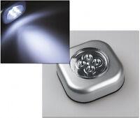 10 x LED Touch Leuchte Lampe 4 LEDs Klebeleuchte silber weißes Licht