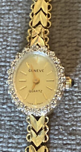 10k Yellow Gold Diamond Geneve Swiss Movt Ladies Watch- Working
