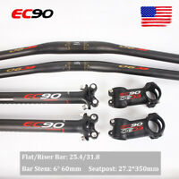 EC90 MTB Bike Handlebar Flat/Riser Bar Stem 6° Seatpost 27.2mm Carbon Fiber