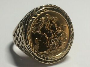 22 CT GOLD FULL SOVEREIGN & RING MOUNT, (QE.11. 2000) SIZE V&1/2. 13.10.GRAMS