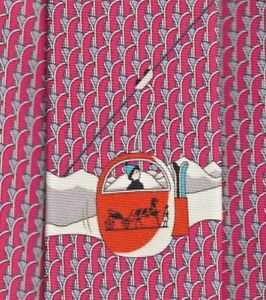 "Cool Brand New Tag Hermes Tie Heavy Silk Twill Pink/Blue ""Ski Lift"" Rare Mint!"