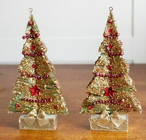 vintage bottlebrush Christmas tree glitter mercury beads