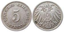 J 12   5 Pfennig Kaiserreich 1915 J in VZ+  502870