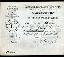 """PARIS (XI°) Ets d'ENTRETIEN de SEPULTURES """"GAUVAIN / BLANCHON Succ"""" en 1879"""