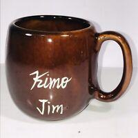 """Vintage Kava Craft Hawaiian Kimo Jim Brown Coffee Cup Mug 3.25"""" Tall 2.75"""" Dia"""