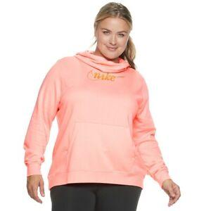 Nike Women's PLUS SIZE Funnel Neck Fleece Sweatshirt CORAL (Sz 2X) NWT MSRP $55