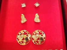 NEW IN GIFT BOX! GUESS EARRINGS! 3 PAIR! HEART ACCENTS! VERY PRETTY!
