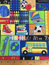 Cotton Fabric Fat Quarter BACK TO SCHOOL Bus ABC Books DIY Mask Making