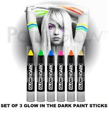Set Of 3 GLOW IN THE DARK PAINT STICK Body & Face Paint Stick Make Up Party