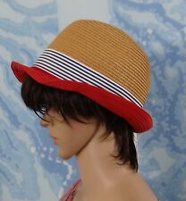 COORDILLIFE women's summer trendy paper beige/red w blue fedora style hat,O/S