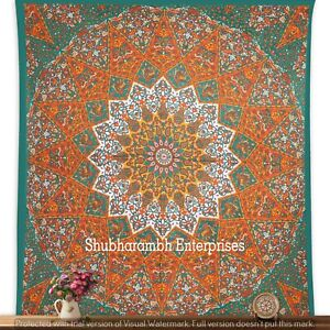 Indian Hanging Bedspread Mandala Cotton Queen Tapestry Boho Wall Bedding Blanket