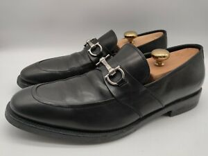 $695 Salvatore Ferragamo Men's Black Leather Horsebit Loafers Slip On Size 9.5 D