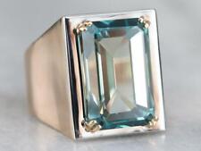 28.41 Carat Transaparent Emeralds Shape Aquamarine Solitaire 925 Silver Men Ring