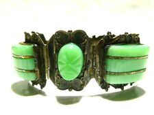 "MEXICO MEXICAN JADE GLASS STERLING SILVER DESIGNER ""ANR"" BRACELET 7"""