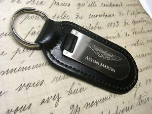 Aston Martin Black Leather Keyring Fob Etched Blind Vanquish Vantage DB9 DB10