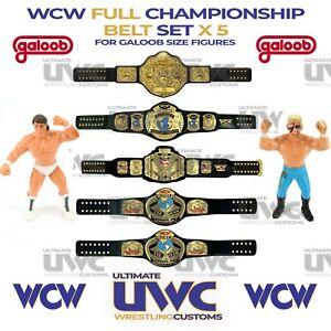 WCW Belts 5 x Custom Set for Galoob Figures WWF AEW WWE