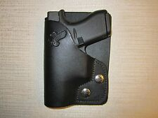 FITS  GLOCK 42, PM9, LC9, PF9, leather right hand, wallet and pocket holster
