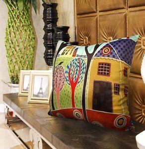 Yellow Barn VELVET PILLOW COVER FOLK ART Abstract Various Sizes Karla Gerard