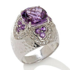 Sima K 4.83ct Amethyst & White Topaz Sterling Silver Ring - Size 9