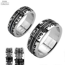Unique FAMA Stainless Steel Black IP Tribal with a Cross Ring Band Size 5-14