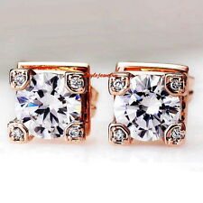 Rose Gold Filled Made with Swarovski Crystals Eiffel Tower Stud Earring XE42
